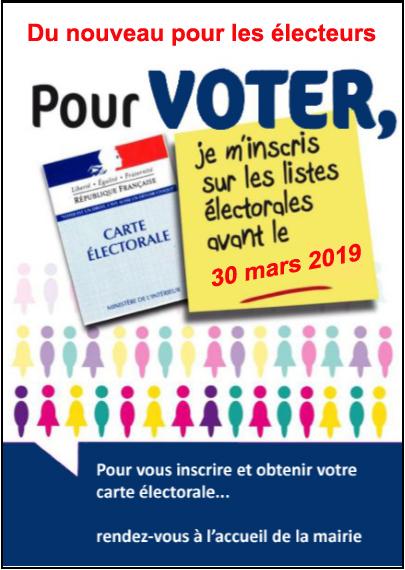 Liste électorale : inscriptions